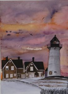 The lighthouse in the winter