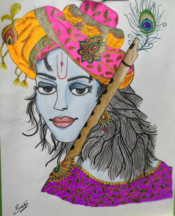 Krishna Sketch With Colors Suchi Drawings Illustration Ethnic Cultural Tribal Asian Indian Indian Artpal