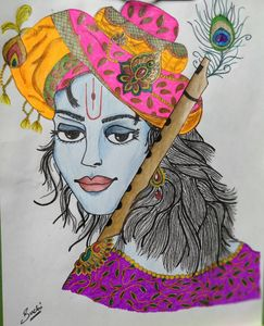 Krishna sketch with colors