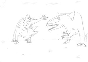 stegosaurus vs carchodontosaurus - The broken teleporter