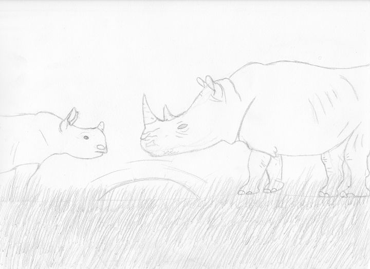 A rhino mother and her calf - The broken teleporter