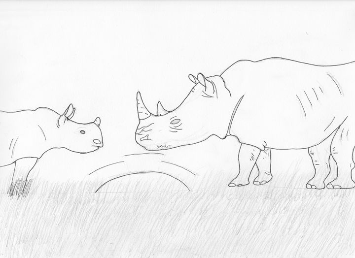 Rhino mother and calf (pinned) - The broken teleporter