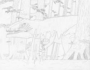 flaming giganotosaurus