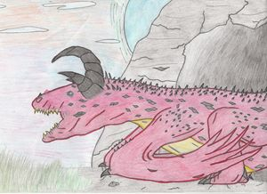 three horned cave dragon (color) - The broken teleporter