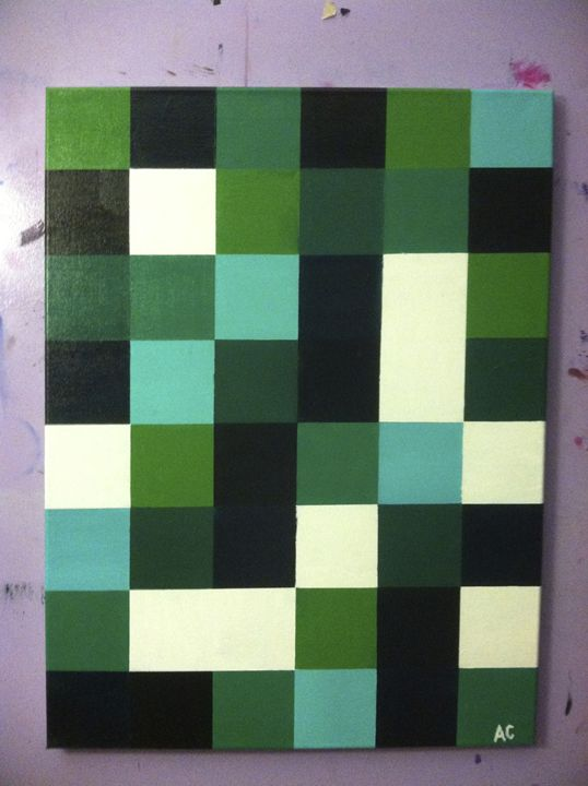 Green Squares - Paintings by Adam Cottone
