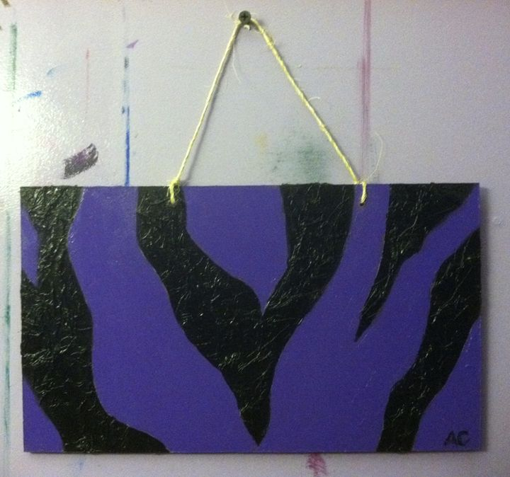 purple and black zebra print - Paintings by Adam Cottone
