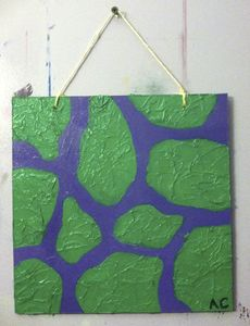 Purple and green giraffe print