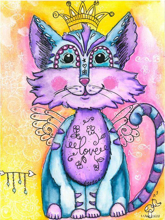Gato Happy Cat in Mixed Media - Shawnta Williams