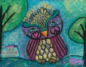 Peace Owl Mixed Media