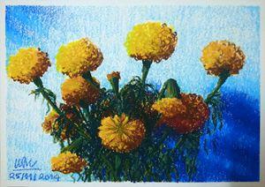 Marigold on the altar - Trinhmai Art