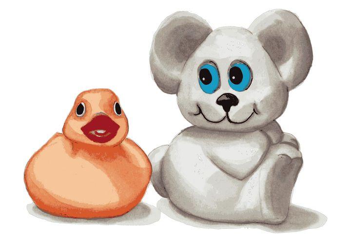 Teddy bear and rubber duck - Paula's Art