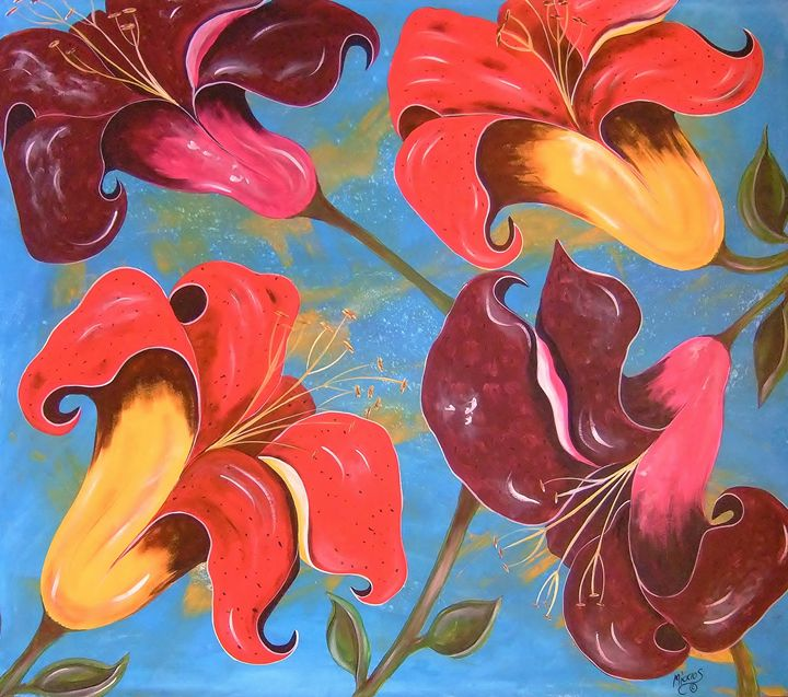 Lilies In The Garden of Eden - Micklos Art By Design The Moon ART