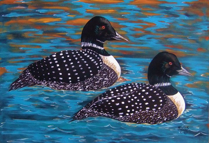 Twilight on Golden Pond Loons - Micklos Art By Design The Moon ART