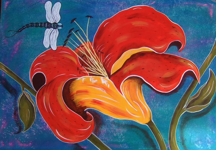Day Lily With Dragonfly - Micklos Art By Design The Moon ART