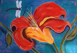 Day Lily With Dragonfly