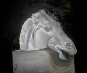Grisaille Painting of a Horse