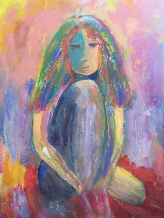 Contemplative Young Girl - Carols Colorful Art