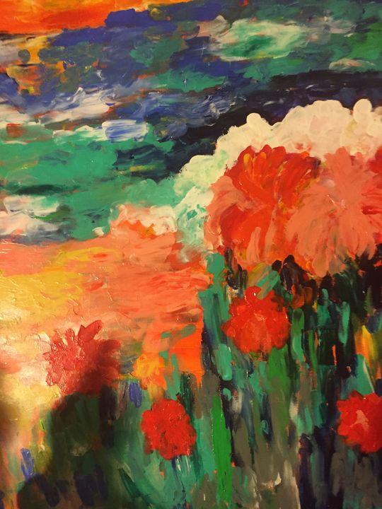 Red Flowers - Carols Colorful Art