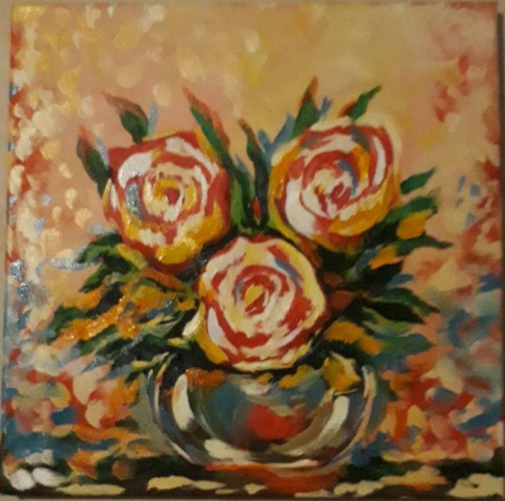 Roses in Vase - Pridon Arabidze's Art