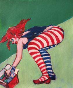 Clown girl and box