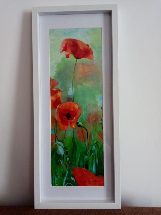 Red poppy lights under the sun - Carmen's paintings