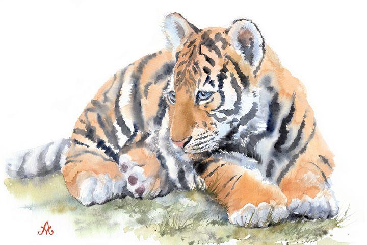 Tiger cub lying on the grass - Unicornarte