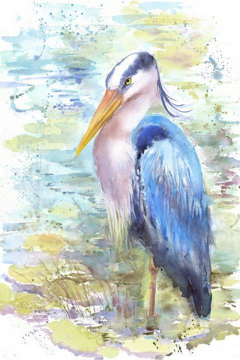 Blue heron in the water - Unicornarte