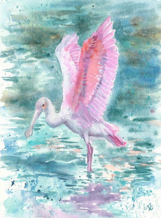 Pink wings in blue - Unicornarte