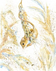 Harvest mouse on the wheat