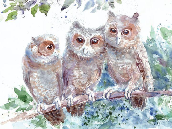 Little owlets on a branch - Unicornarte