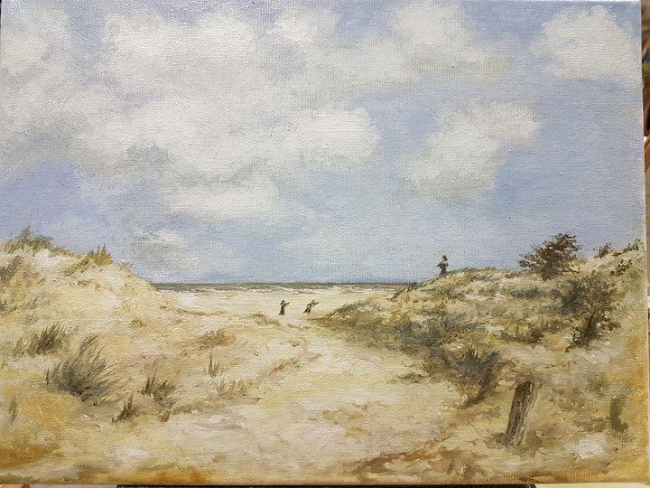 Dutch beach with woman - Dutch paintings