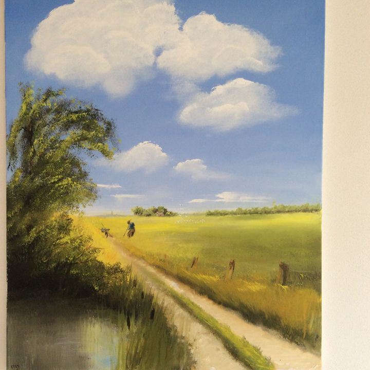 Landschap met boer en water 1/2 - Dutch paintings