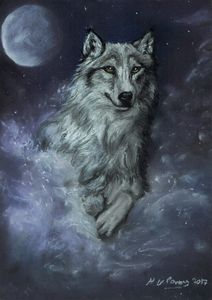 Wolf running in moonlight