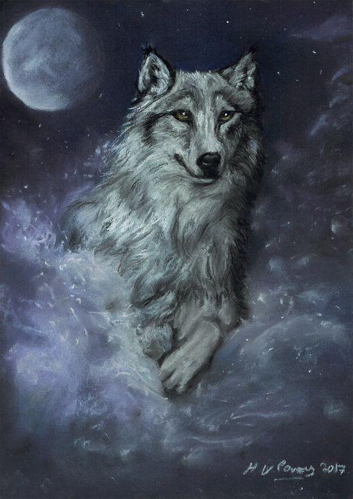 Wolf running in moonlight - Helen