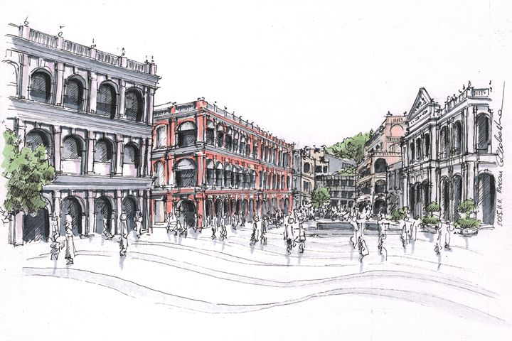 Macau downtown - Drawings From Travel