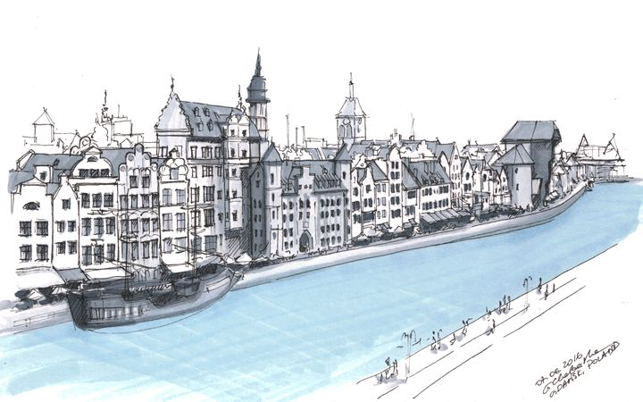 Gdansk downtown - Drawings From Travel