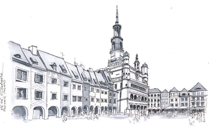 Poland, Poznan downtown - Drawings From Travel