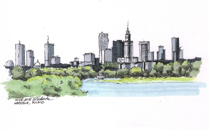Poland, Warsaw panoram - Drawings From Travel