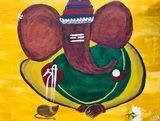 Abstract Ganesha Canvas Painting