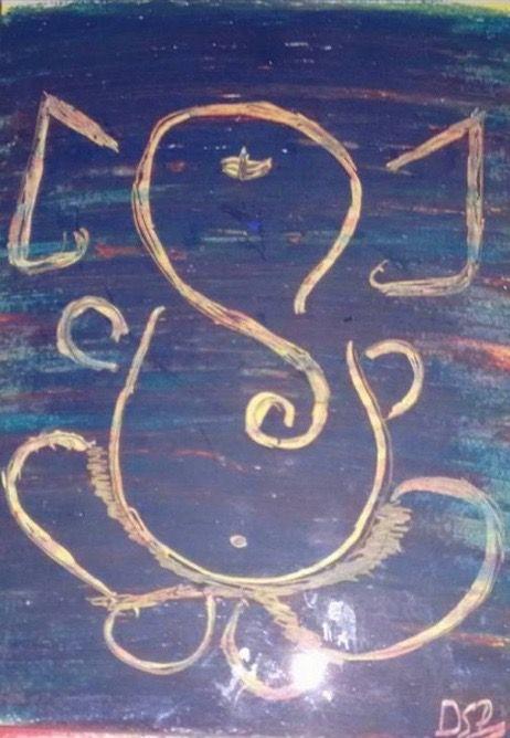 Abstract Ganesha Crayon Artwork - SaiPoornima Kaushik