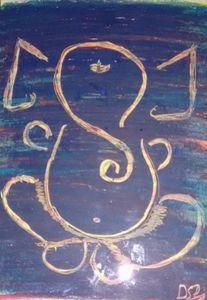 Abstract Ganesha Crayon Artwork