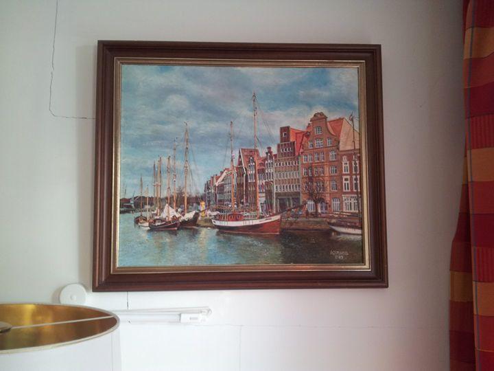 Untertrave Lübeck mit Segelschiffen - Original paints of Country, Citys, Animals