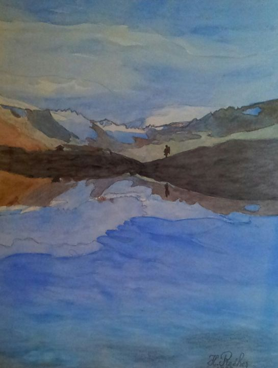 Einsamer Wanderer - Original paints of Country, Citys, Animals