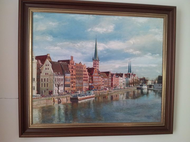 Untertrave Lübeck mit Kirchtürmen - Original paints of Country, Citys, Animals