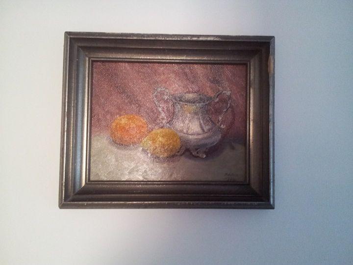 Zinnkrug mit Früchten - Original paints of Country, Citys, Animals