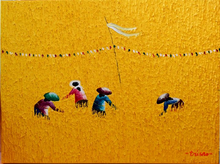 Oil Painting Canvas Bali Rice Field - GlobeWiz
