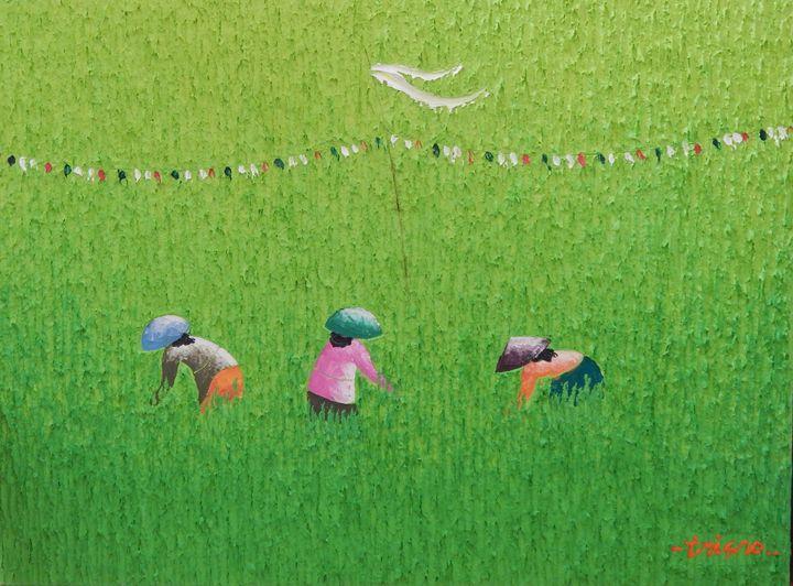 Oil on Canvas Bali Rice Field - GlobeWiz
