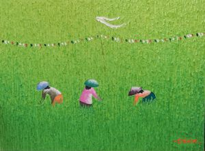 Oil on Canvas Bali Rice Field