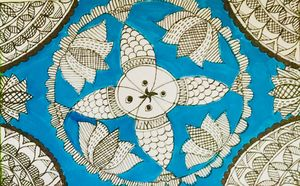 Fish and lotus- Madhubani Painting