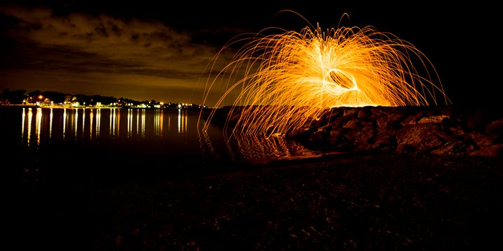 Fire Spinning Williamstown Beach - Eddy West Photography